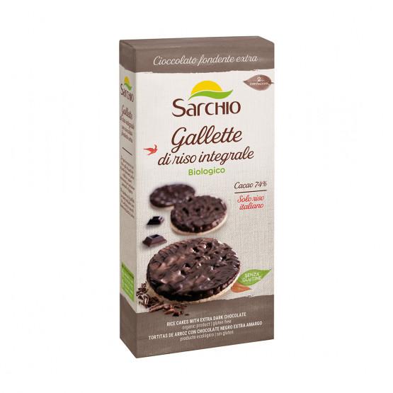 Хлібці рисові з чорним шоколадом Sarchio 100 г